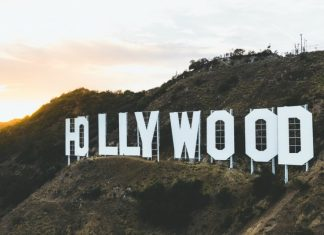 Hollywood Sign in California at Sunset
