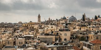 Old City across to Christian Quarter from Ramparts Jerusalem