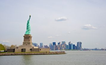 Statue of Liberty with lower Manhattan in the background