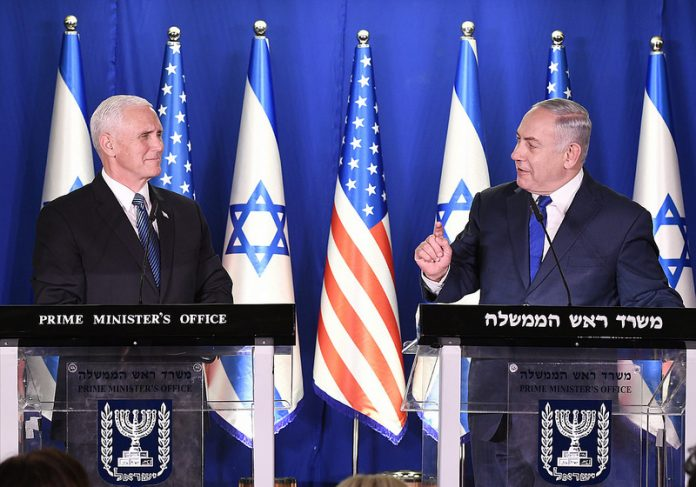 US VP Mike Pence with Benjamin Netanyahu