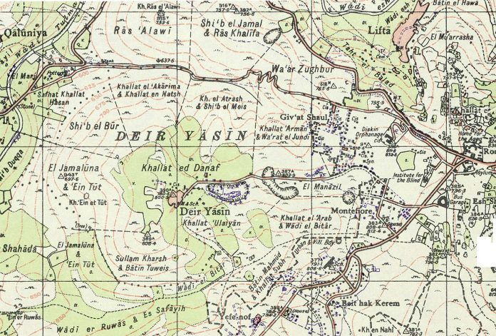 Map showing Deir Yassin and its surroundings in 1948